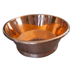 Round Copper Bathtub Shining Copper Inside & Outside