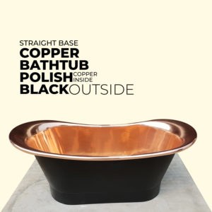 Straight Base Copper Bathtub Black Outside